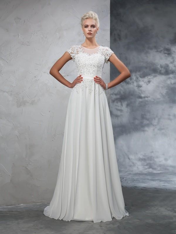 A-Line/Princess Applique Sweep/Brush Train Sheer Neck Short Sleeves Chiffon Wedding Dresses