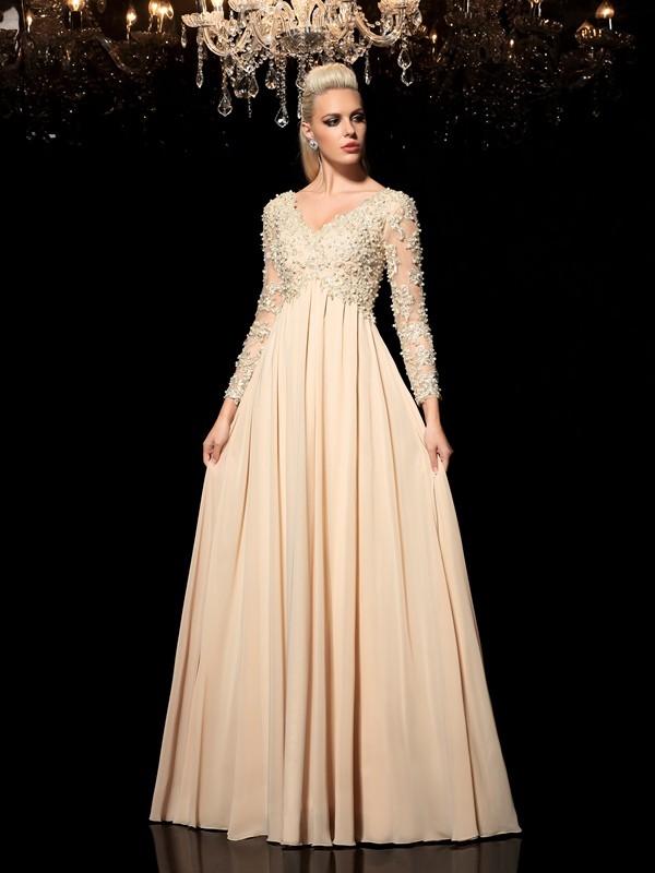 A-Line/Princess Applique Floor-Length V-neck Long Sleeves Chiffon Dresses