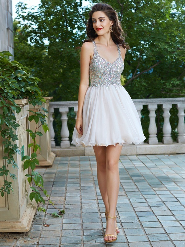 A-Line/Princess Short/Mini Sleeveless Rhinestone Straps Chiffon Dresses