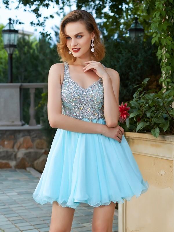 A-Line/Princess Short/Mini Sleeveless Rhinestone Straps Chiffon Dresses
