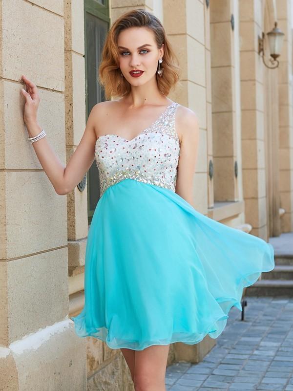 A-Line/Princess Short/Mini Sleeveless Beading One-Shoulder Chiffon Dresses