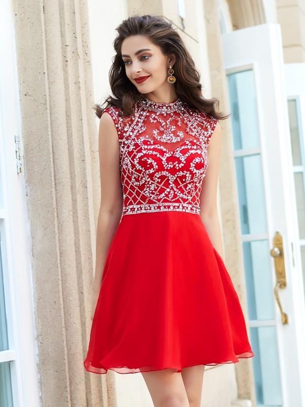 A-Line/Princess Short/Mini Sleeveless Beading High Neck Chiffon Dresses