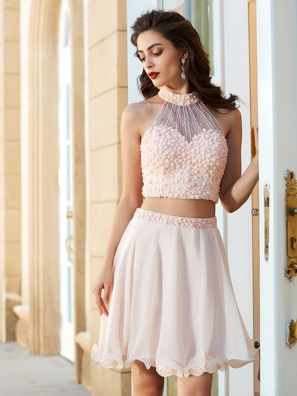 A-Line/Princess Short/Mini Sleeveless Beading Halter Chiffon Two Piece Dresses