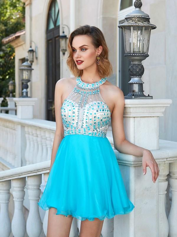 A-Line/Princess Short/Mini Sleeveless Beading Halter Chiffon Dresses