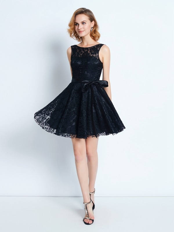 A-Line/Princess Short/Mini Sleeveless Sash/Ribbon/Belt Scoop Lace Dresses