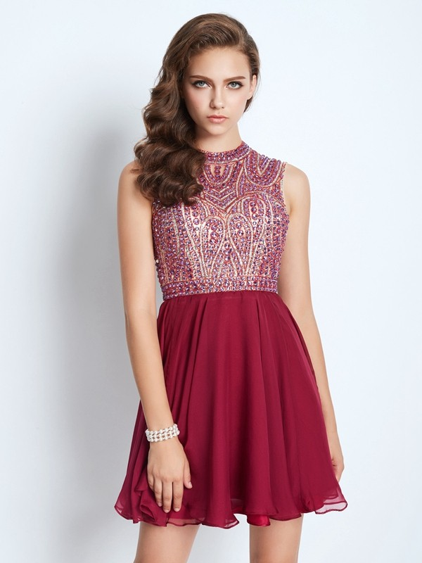 A-Line/Princess Short/Mini Sleeveless Beading Jewel Chiffon Dresses