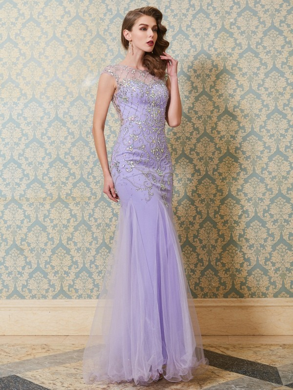 Trumpet/Mermaid Scoop Sleeveless Tulle Floor-Length Beading Dresses