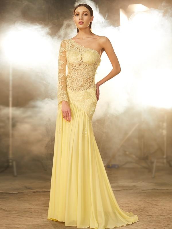 Sheath/Column One-Shoulder Long Sleeves Chiffon Sweep/Brush Train Lace Dresses