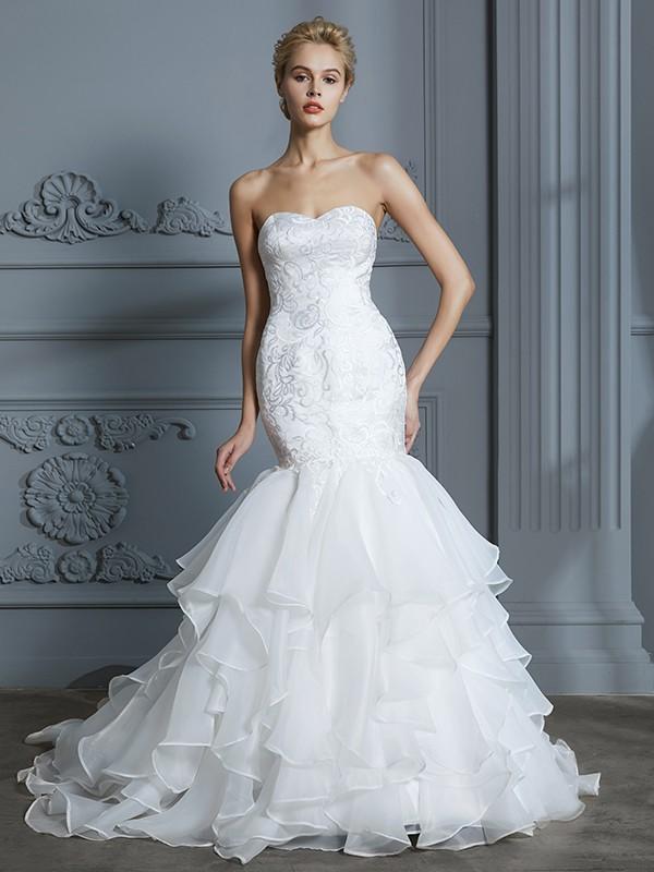 Trumpet/Mermaid Sweep/Brush Train Sweetheart Sleeveless Ivory Organza Wedding Dresses