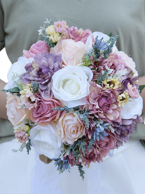 Attractive Bridal Bouquets Round Artificial Flower