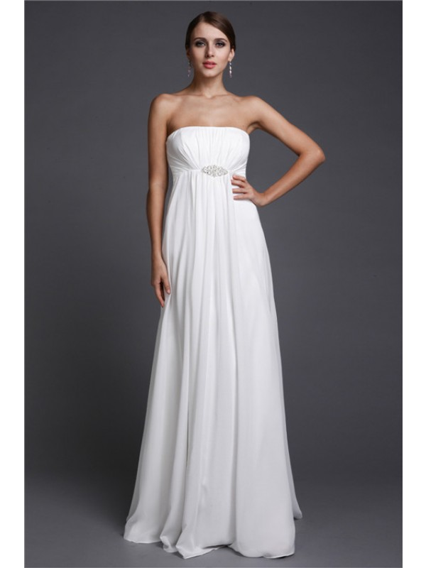 A-Line/Princess Beading Chiffon Sleeveless Floor-Length Strapless Bridesmaid Dresses