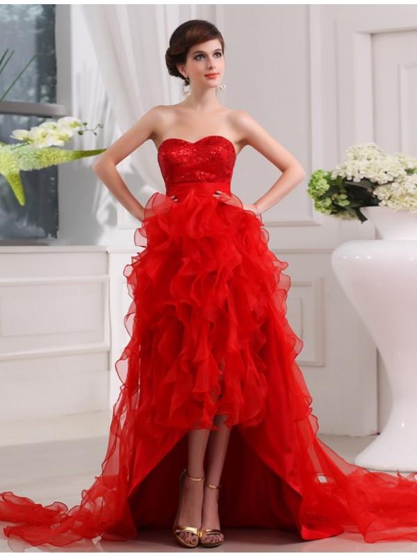 A-Line/Princess Sequin Organza Sleeveless Asymmetrical Sweetheart Dresses