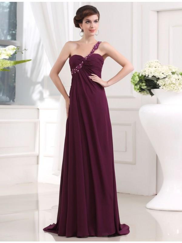 A-Line/Princess Beading Applique Chiffon Sleeveless Sweep/Brush Train One-Shoulder Dresses
