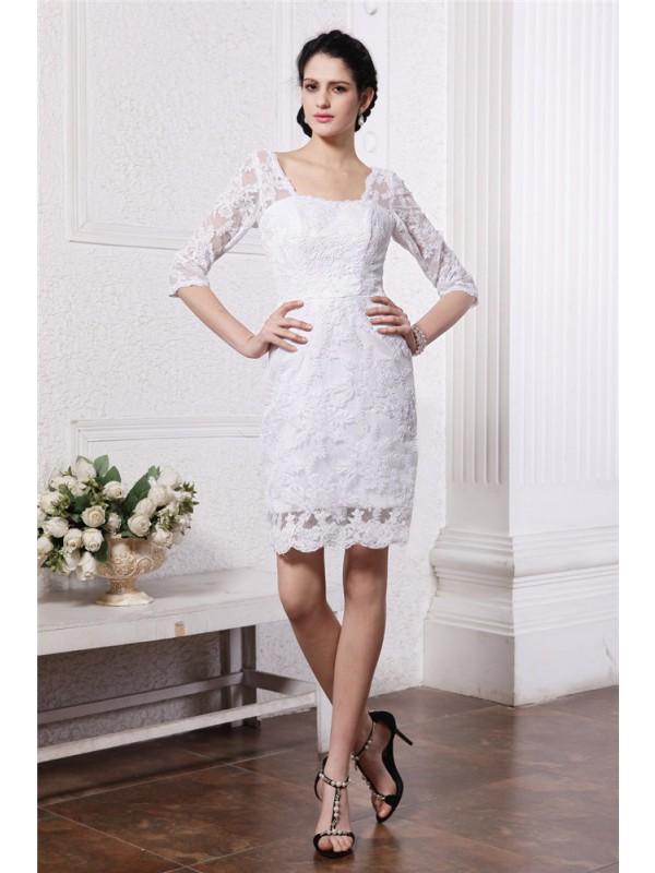Sheath/Column Lace Lace 1/2 Sleeves Short/Mini Bateau Wedding Dresses
