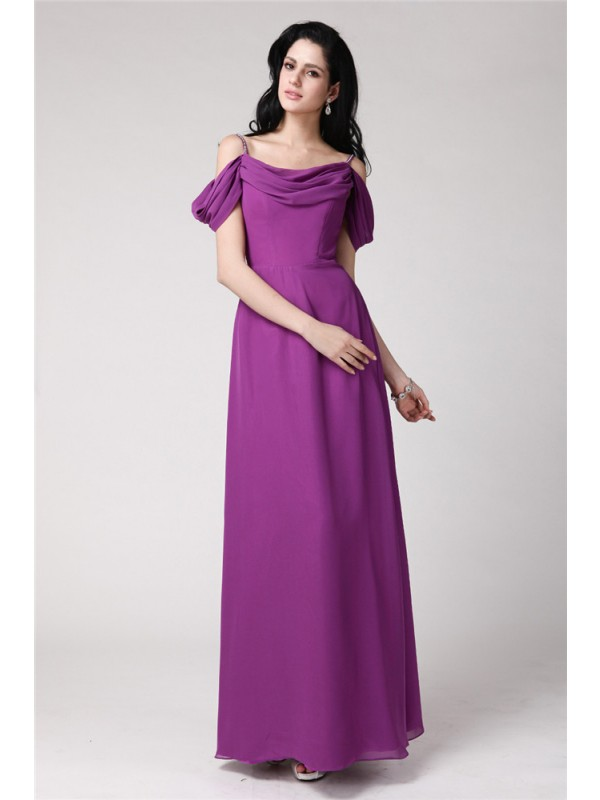 Sheath/Column Pleats Chiffon Sleeveless Floor-Length Spaghetti Straps Bridesmaid Dresses