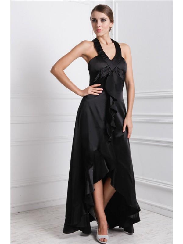 A-Line/Princess Ruffles Silk like Satin Sleeveless Asymmetrical Bateau Dresses