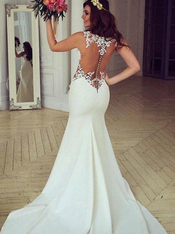 Trumpet/Mermaid Lace Applique Scoop Sleeveless Sweep/Brush Train Ivory Wedding Dresses