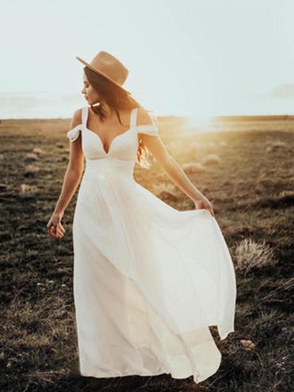 A-Line/Princess Chiffon Ruffles V-neck Short Sleeves Floor-Length Ivory Wedding Dresses