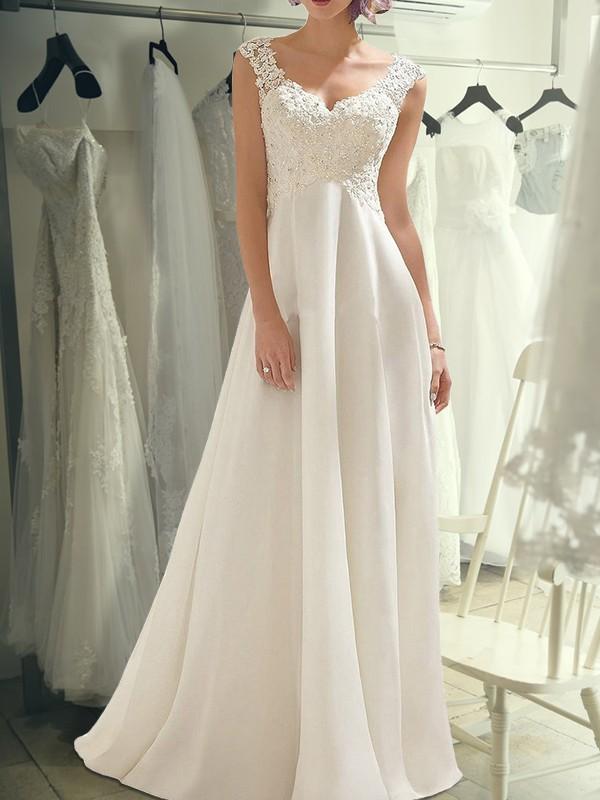 Empire Sleeveless V-neck Floor-Length Lace Chiffon Wedding Dresses