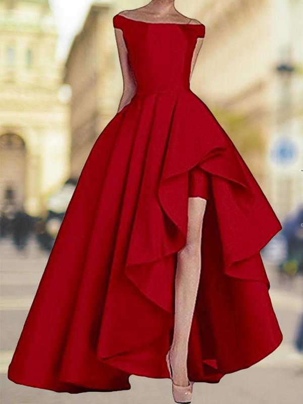 A-Line/Princess Off-the-Shoulder Satin Asymmetrical Sleeveless Dresses