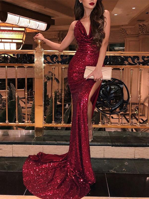Trumpet/Mermaid V-neck Ruffles Sleeveless Sweep/Brush Train Sequins Dresses