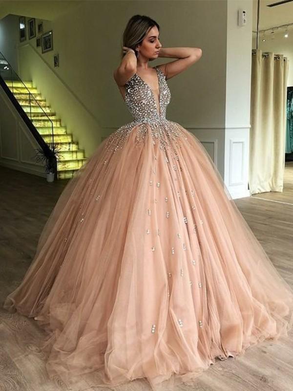 Ball Gown V-neck Beading Sleeveless Floor-Length Tulle Dresses