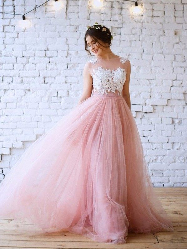 A-Line/Princess Sweep/Brush Train Bateau Applique Sleeveless Tulle Dresses