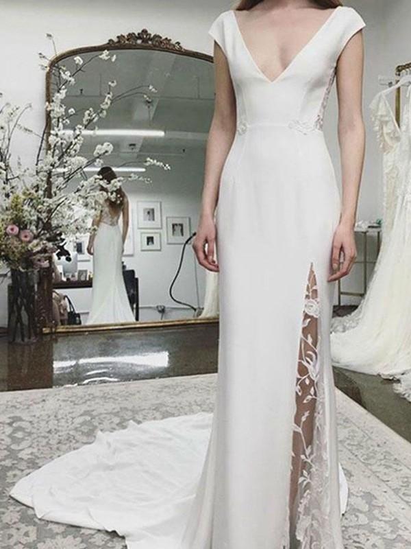 Sheath/Column Sleeveless Satin Lace V-neck Court Train Wedding Dresses