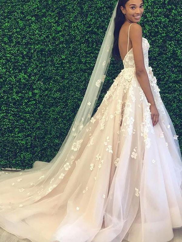 A-Line/Princess Sleeveless Tulle Applique Spaghetti Straps Court Train Wedding Dresses