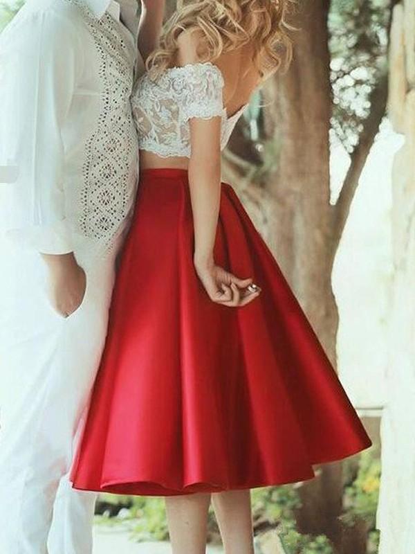 A-Line/Princess Knee-Length Satin Sleeveless Off-the-Shoulder Lace Dresses