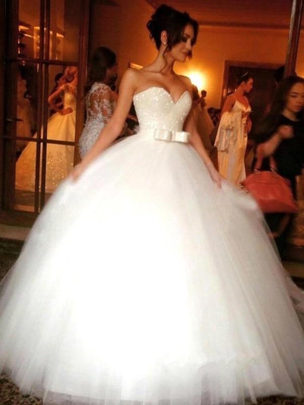 Ball Gown Floor-Length Tulle Sleeveless Sweetheart Bowknot Wedding Dresses