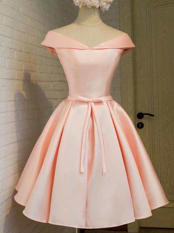 A-line/Princess Short/Mini Satin Sleeveless V-neck Sash/Ribbon/Belt Dresses