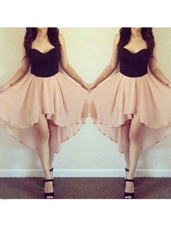 A-Line/Princess Sweetheart Chiffon Short/Mini Dress