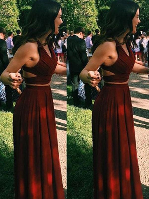 A-Line/Princess Floor-Length Chiffon Sleeveless Halter Dresses