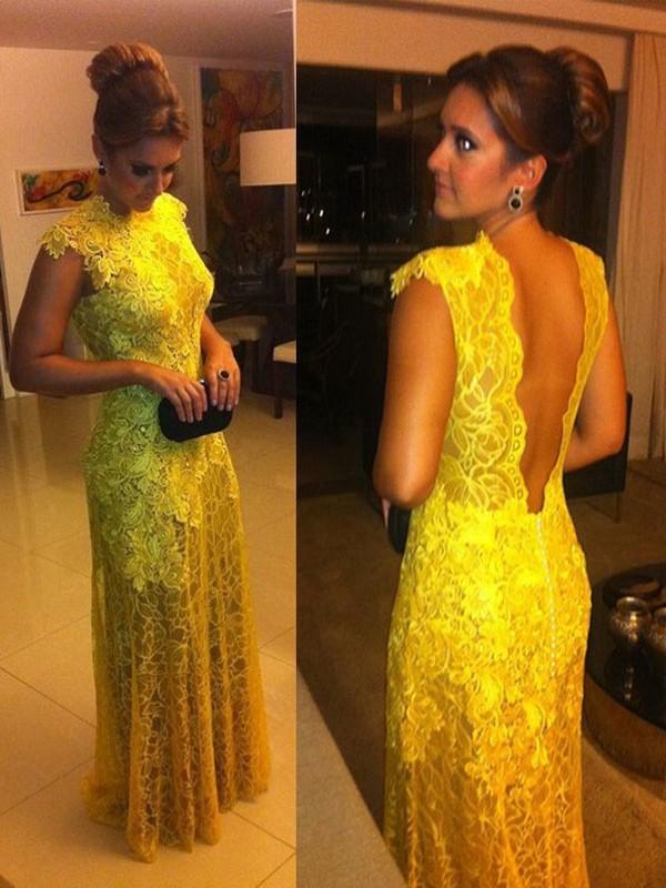 A-Line/Princess Lace High Neck Floor-Length Dress