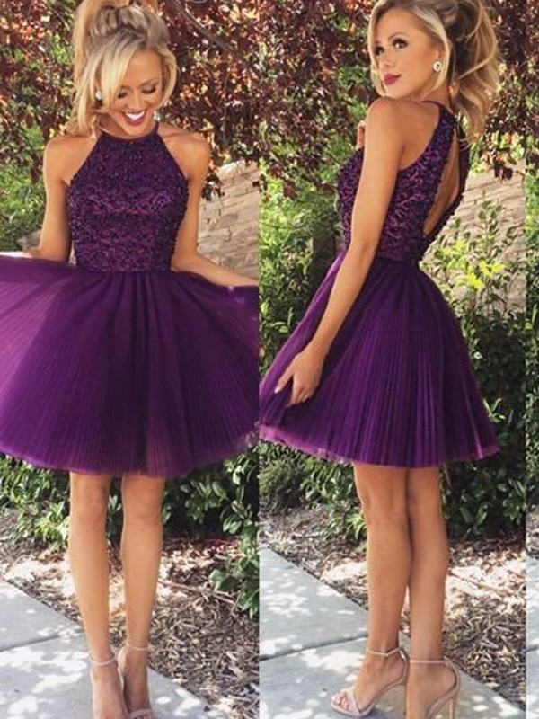 A-line/Princess Short/Mini Tulle Sleeveless Halter Beading Dresses