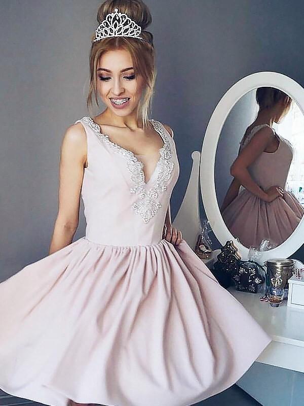 A-line/Princess Satin Short/Mini Sleeveless V-neck Dresses