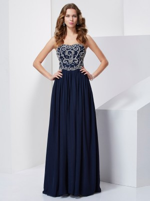 A-Line/Princess Chiffon Strapless Floor-Length Beading Sleeveless Dresses