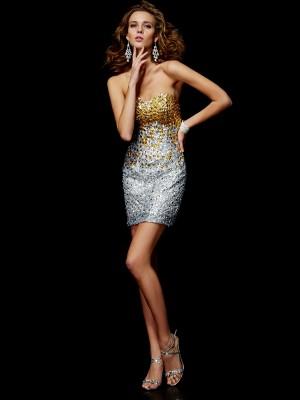 Sheath/Column Lace Sweetheart Short/Mini Beading Sleeveless Cocktail Dresses