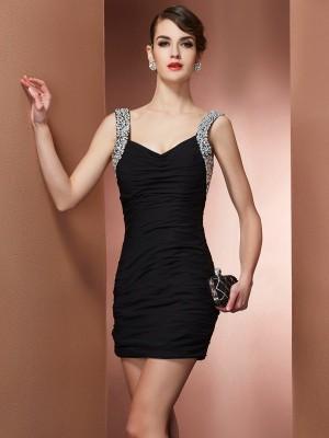 Sheath/Column Chiffon Straps Short/Mini Beading Sleeveless Cocktail Dresses