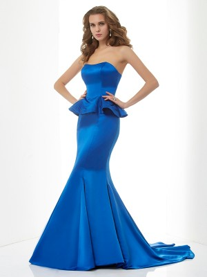 Trumpet/Mermaid Satin Sweetheart Sweep/Brush Train Sleeveless Dresses