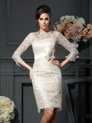 Sheath/Column 3/4 Sleeves Bowknot Short/Mini Scoop Lace Mother of the Bride Dresses