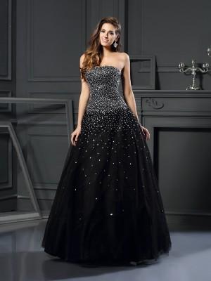 Ball Gown Sleeveless Beading Floor-Length Strapless Satin Dresses
