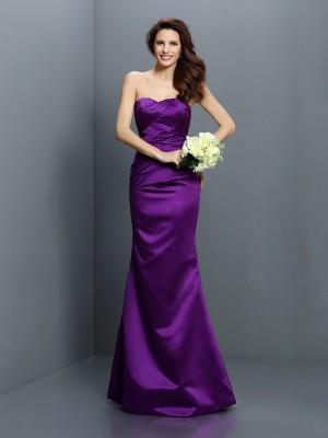 Trumpet/Mermaid Sleeveless Pleats Floor-Length Strapless Satin Bridesmaid Dresses