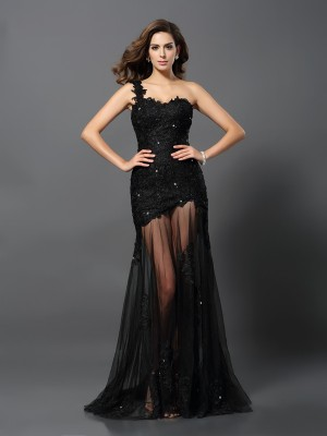 Sheath/Column Sleeveless Applique Sweep/Brush Train One-Shoulder Lace Dresses