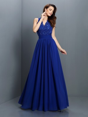 A-Line/Princess Sleeveless Applique Floor-Length V-neck Chiffon Bridesmaid Dresses