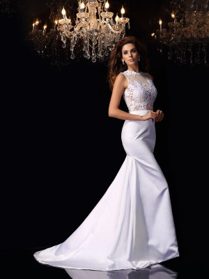 Trumpet/Mermaid Sleeveless Applique Chapel Train High Neck Satin Wedding Dresses