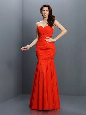 Trumpet/Mermaid Sleeveless Pleats Floor-Length Sweetheart Chiffon Bridesmaid Dresses