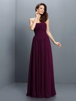 A-Line/Princess Sleeveless Pleats Floor-Length Strapless Chiffon Bridesmaid Dresses
