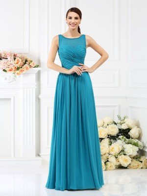 A-Line/Princess Sleeveless Pleats Floor-Length Bateau Chiffon Bridesmaid Dresses